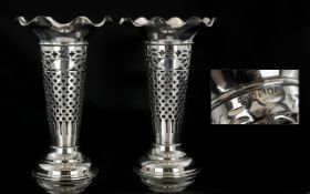 Edwardian Period Superior Pair of Sterling Silver Tapered Vases with Open Worked Stems,