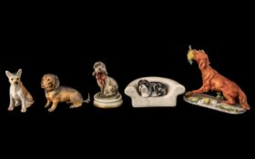 Excellent Collection of 5 Small Hand Painted Dog Figures, Various Makers - All of Small Size -