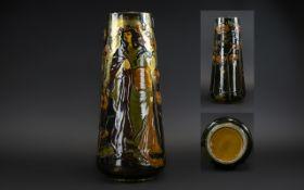 Thomas Forester Art Nouveau Tubelined Art Pottery Vase of tapering, cylindrical shape,