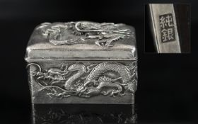 Chinese Export Silver Wonderful Quality Hinged Lidded Box, of rectangular form.