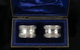 Edwardian Period Fine Quality Boxed Pair of Sterling Silver Napkin Holders with Cast Silver Border
