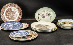 Collection of Cabinet & Decorative Plates, comprising: Willow Pattern oval small plate and 9.5''