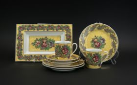 Rosenthal Classic Pearl China 'Bloomsbury', comprising a rectangular dish, two cups, two saucers and