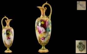 Royal Worcester - Signed and Hand Painted Ewer ' Roses ' Stillife. Signed Austin, Date 1907.