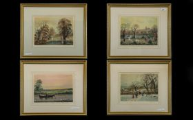 Set of Four Pencil Signed Helen Bradley Prints, depicting the Four Seasons; with blind stamp,