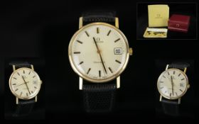 Omega Gents Mechanical 9ct Gold Date Just 1970s Wrist Watch, full hallmark to back cover,