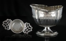 Late Victorian Period Superb Quality Sterling Silver Swing Handle Sugar Basket,
