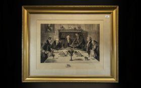 A Pencil Signed Denby Sadler Print, of gentlemen eating a roast beef dinner in a Victorian