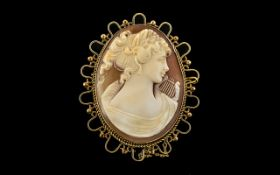 Ladies Large and Impressive Nice Quality 9ct Gold Mounted ( Ornate ) Oval Shaped Shell Cameo