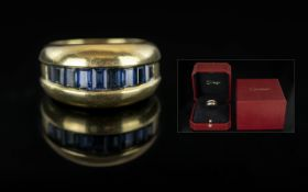 Cartier - Superb Quality 18ct Gold Dress Ring - Channel Set with Ceylon Blue Sapphires,