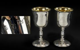 Preston Guild 1972 Pair of Sterling Silver Goblets with Gilt Interiors,