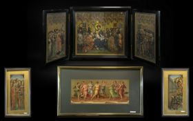 A Tryptic Containing Coloured Religious Prints of the Madonna, and attendants.