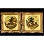 John Holland - Dated 1875 - A Pair of Fine Quality Oil Paintings on Round Panels, Depicting