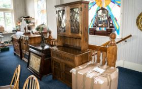 Jay-lee Oak Paneled Fronted TV Cabinet With a Leaded Glass Bottom Drawer, Size 36 Inches Wide,