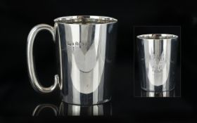 Edwardian Period Sterling Silver Cup / Tankard of Small Proportions and Plain Form,