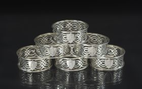 Edwardian Period - Superb Sterling Silver Set of Six Open worked Napkin Holders In Excellent