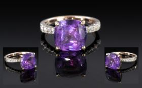 Gold Plated Silver Mounted Amethyst Dress Ring, of large size, ring size L.