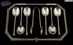 Excellent 1920's Sterling Silver Boxed Set of Six Coffee Spoons and Matching Sugar Nips. Hallmark