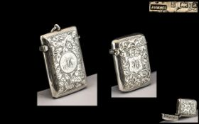 Late Victorian Period Sterling Silver Hinged Vesta Case of Excellent Proportions, Chased Floral