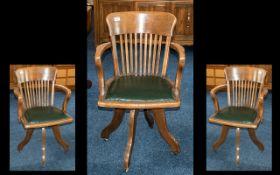 American Golden Oak Swivel Desk Chair on Four Shaped Legs,