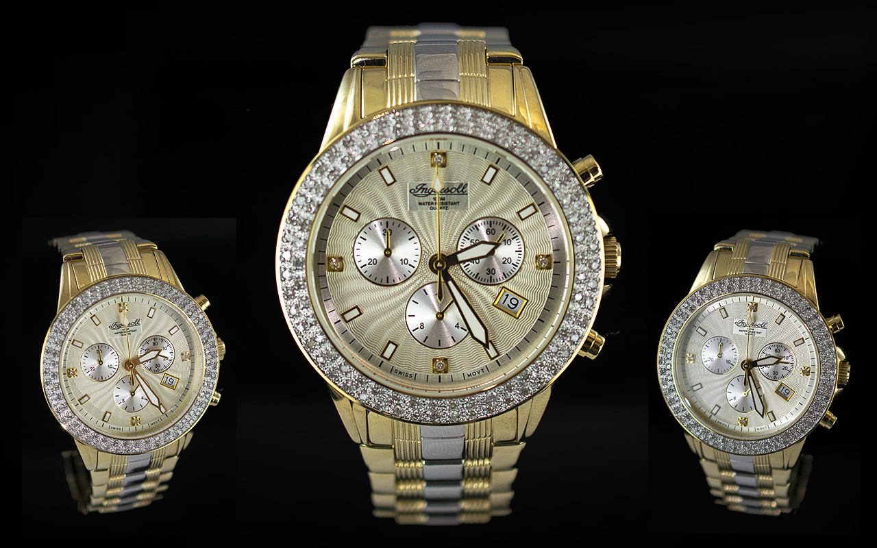 Ingersoll - Swiss Made Gents Diamond Set Heavy Gold on Steel Chronograph Wrist Watch. Features