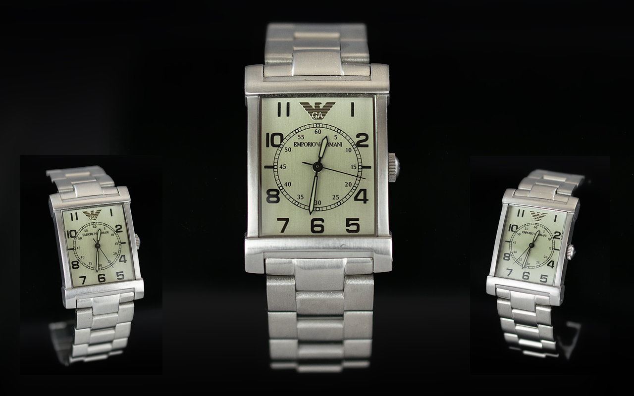 Emporio Armani Historical Collection 2010 Classic Stainless Steel Wrist Watch, Ref. AR - 0216,