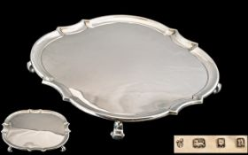 1930's Charles Stuart Harris Sterling Silver Footed Salver of Excellent Proportions / Size,