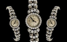 Jaeger-Le-Coultre Stunning Quality Ladies Platinum / Diamond Set Wrist Watch, Manual Wind, Marked