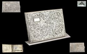Czechoslovakia Excellent Quality Solid Silver Cigarette Case of Rectangular Shape with Chased Floral