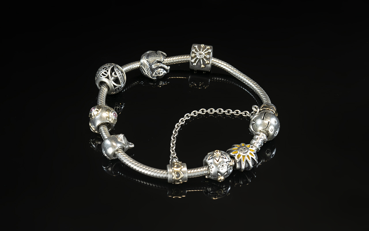 Pandora - Vintage Sterling Silver Charm Bracelet - Loaded with Eight Excellent Charms. Full Marks
