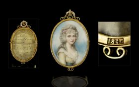 Richard Cosway Attributed 1742-1821 Handpainted Watercolour Portrait Miniature in ivory of Lady
