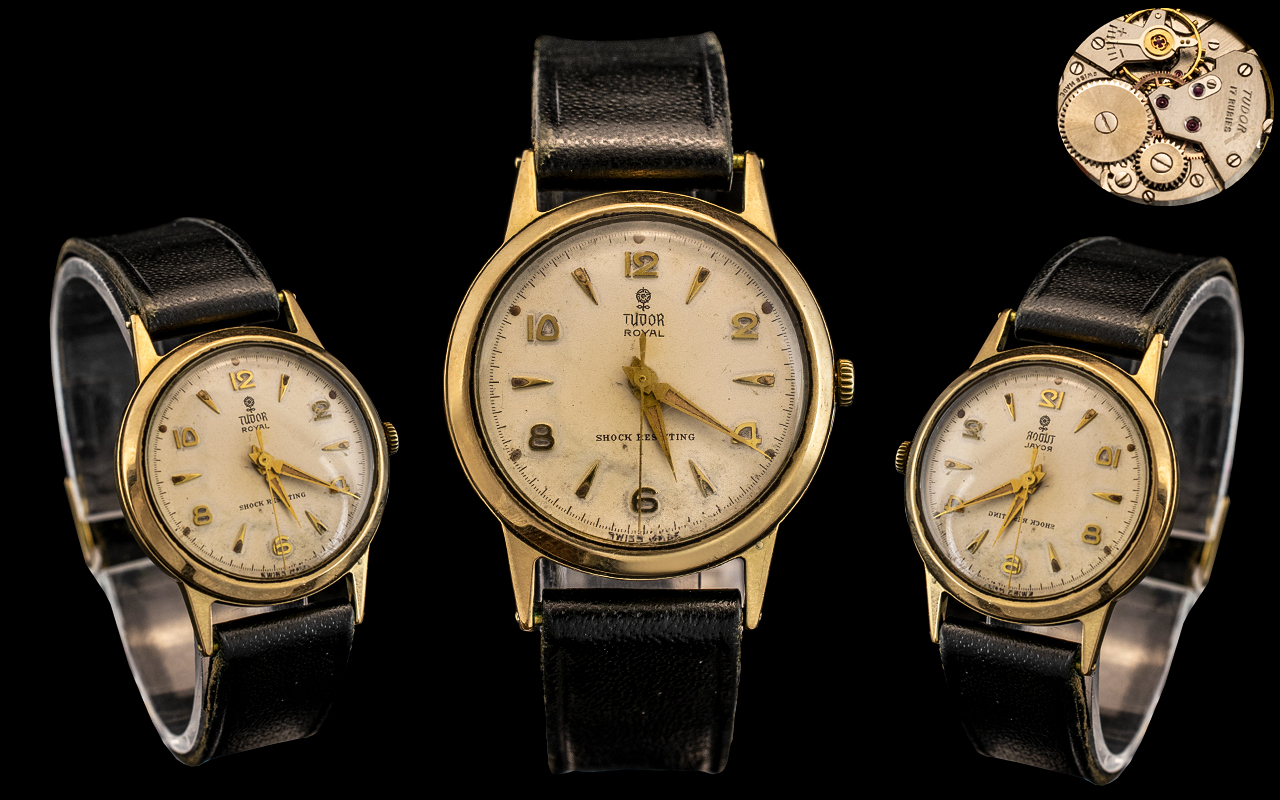 Rolex - Tudor Royal Rose 9ct Gold Mechanical Wind Wrist Watch with Attached Leather Strap.