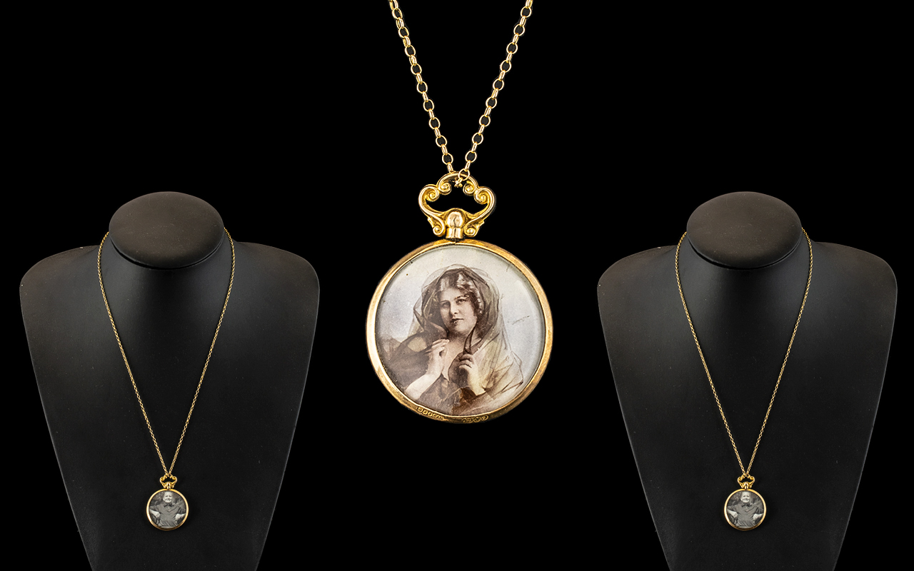 Antique Period Attractive 9ct Gold Mounted Double Locket Pendant - Attached to a 9ct Gold Chain.