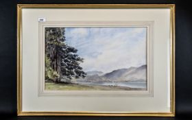 David Harrison Large Watercolour Drawing of a River Landscape with Figures,