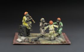 Large Austrian Type Cold Painted Bronze Group of Arab Dancing on a Persian Carpet,