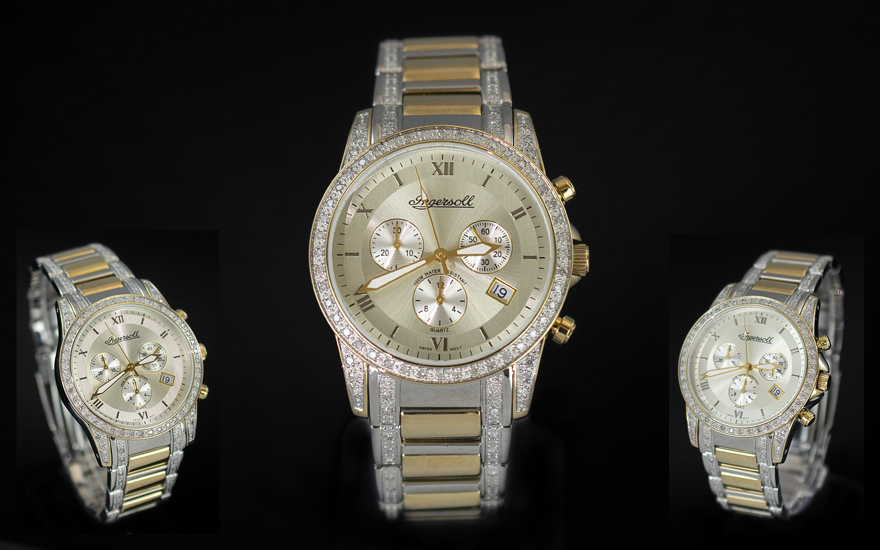 Ingersoll - Swiss Made Diamond Set Two Tone Gold Plated and Steel Chronograph Gents Wrist Watch.