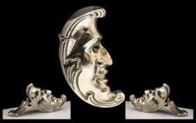 Vintage Sterling Silver Novelty ' Man In the Moon ' Vesta Case. Not Marked but Tests Silver.