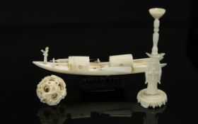 """An Antique Chinese Carved Ivory Concentric Ball on Stand, overall height 7""""."""