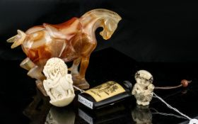 Four Pieces Of Modern Oriental Ware, To Include An Agate Tang Horse, Snuff Bottle,