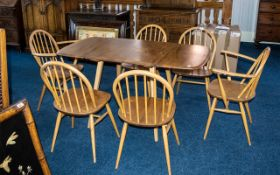 Ercol Golden Dawn Drop Down Leaf Dining Table, Supported on Tapering Legs.