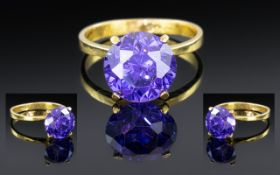 Ladies 21ct Yellow Gold - Superb Bespoke Made Single Stone Purple Amethyst Set Ring.
