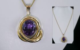 Antique Period - Attractive and Magnificent Large Amethyst Set Pendant. c.1880 - 1890.