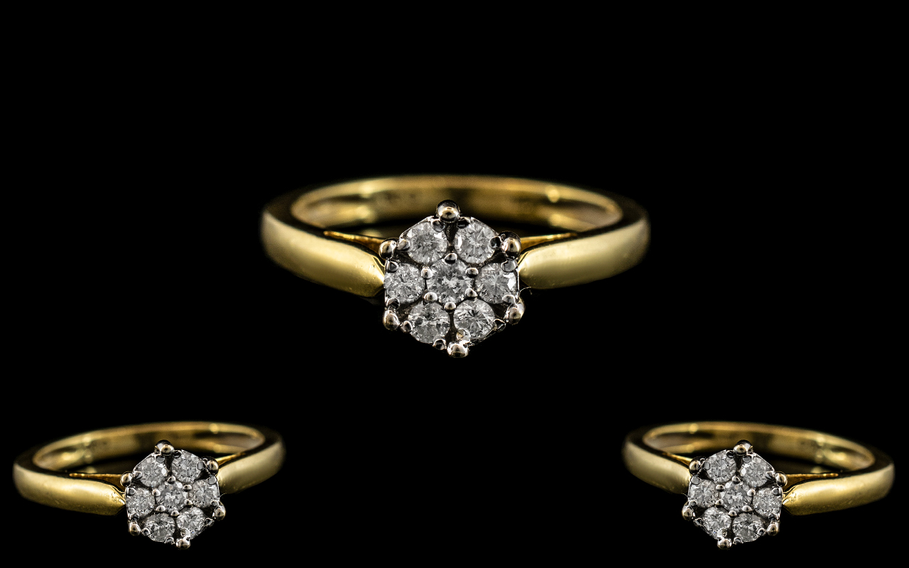 18ct Gold Attractive Diamond Set Cluster Ring. Fully Hallmarked for 18ct to Interior of Shank. The 7