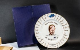 Crown Staffordshire China Bobby Charlton Plate In Bone China to Commemorate His 100th English Cap,