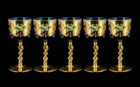 Five Cobalt Blue Enamelled Murano Glasses. Cobalt glasses with gilt and porcelain decoration, raised