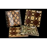 Four Pugin Style Antique Pottery Tiles, c1860s, makers - E. Smith & Co.,Coalville, M.E. & Co, and