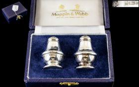 Mappin & Webb Silver Boxed Salt & Pepper.