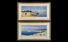 Pair of Watercolour Drawings, Depicting Arabs In the Desert Riding Camels and Arab Dows,