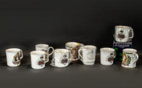 Ten Assorted Bone China Commemorative Beakers, including Spode, Royal Worcester, Royal Grafton,