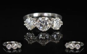 Ladies Stunning White Gold 3 Stone Diamond Ring, Platinum Marks to Interior of Shank.